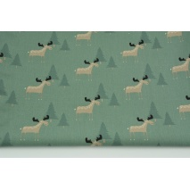 Cotton 100% beige moose, Christmas trees on a dark sage background, poplin