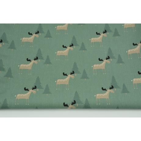 Cotton 100% beige moose, Christmas trees on a dark sage background, poplin
