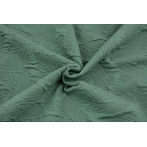 Jacquard knitwear leaves, dark sage