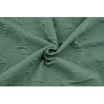Jacquard knitwear leaves, dark sage