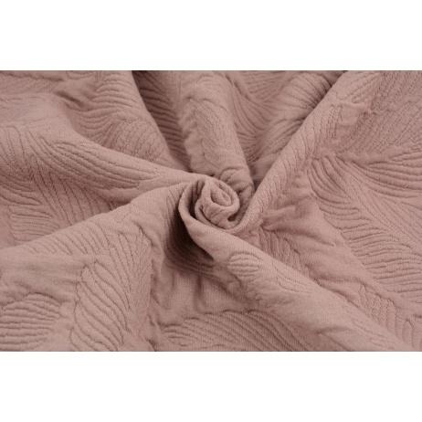Jacquard knitwear leaves, dirty pink