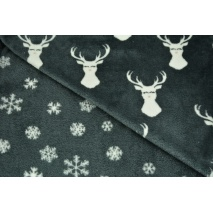 Double sided fleece, reindeers, snowflakes on a dark gray background