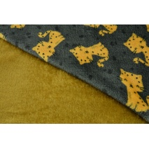 Double sided fleece, cheetahs on a dark gray background