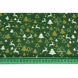 Cotton 100% small reindeers, golden Christmas trees on a dark green background