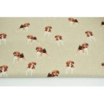 Tkanina dekoracyjna, psy na lnianym tle 200g/m2
