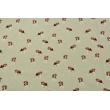 Decorative fabric, dogs on a linen background 200g/m2