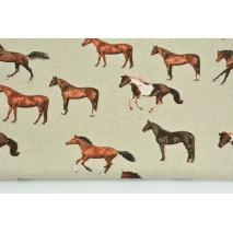 Tkanina dekoracyjna, konie na lnianym tle 200g/m2