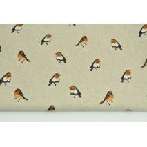 Tkanina dekoracyjna, ptaszki na lnianym tle 200g/m2