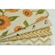 Decorative fabric, sunflowers on a linen background 200g/m2