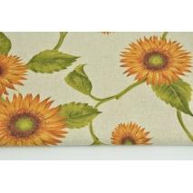 Tkanina dekoracyjna, słoneczniki na lnianym tle 200g/m2