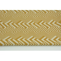 Decorative fabric, mustard geometric pattern on a linen background 200g/m2
