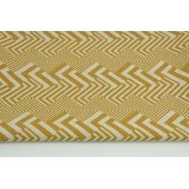 Tkanina dekoracyjna, musztardowy wzór geometryczny na lnianym tle 200g/m2