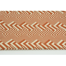 Decorative fabric, ginger geometric pattern on a linen background 200g/m2