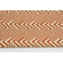 Tkanina dekoracyjna, rudy wzór geometryczny na lnianym tle 200g/m2