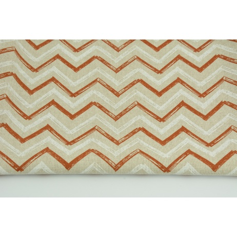 Decorative fabric, ginger-white zigzag on a linen background 200g/m2
