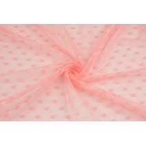 Soft tulle with dots, coral pink