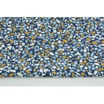 Bawełna 100% musztardowo-niebieskie kamyki na granatowym tle