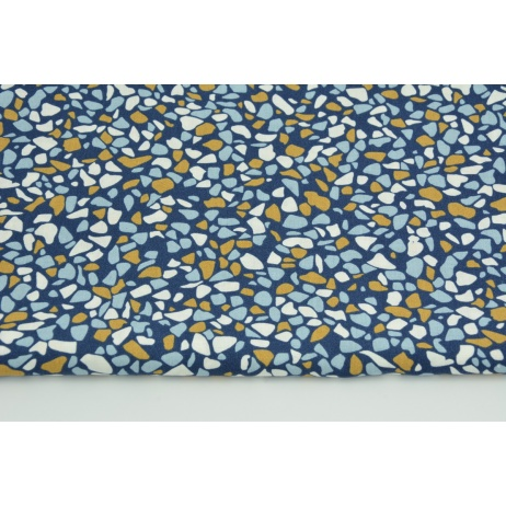 Cotton 100% mustard-blue pebbles on a navy blue background