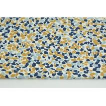 Bawełna 100% musztardowo-niebieskie kamyki na białym tle