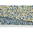 Cotton 100% mustard-blue pebbles on a white background
