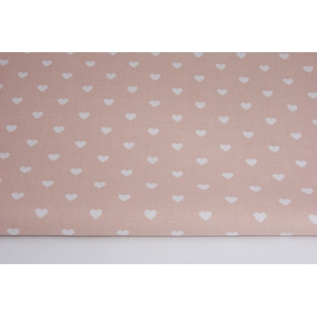 Cotton 100% white hearts on a mint background
