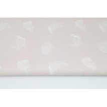 Cotton 100% white feathers on a powder, dirty pink background II quality