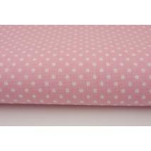 Bawełna 100% kropki białe 2mm na różowym tle II jakość