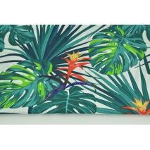 Bawełna 100% liście palmowe, morski turkus na białym tle II jakość
