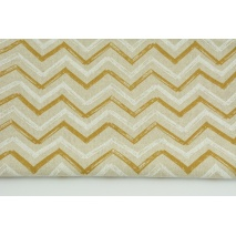 Decorative fabric, mustard-white zigzag on a linen background 200g/m2