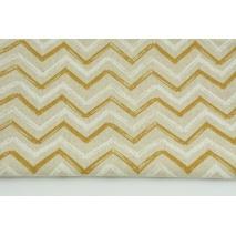 Tkanina dekoracyjna, musztardowo-biały zygzak na lnianym tle 200g/m2