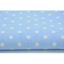 Bawełna 100% kropki białe 7mm na niebieskim tle