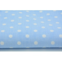 Cotton 100% white polka dots 7mm on a blue background