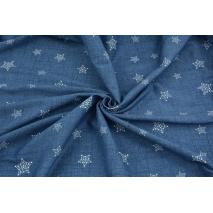Dzianina 100% bawełniana białe gwiazdki na ciemnoniebieskim, lnianym tle