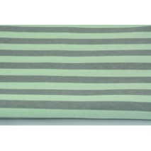 Knitwear 100% cotton 10mm gray stripes on a mint background 140 cm