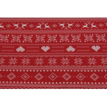 100% Cotton scandinavian pattern on a red background