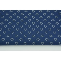 Cotton 100% silver stars on a navy blue background (contour)