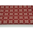 Cotton 100% silver-gold snowflakes on a burgundy background