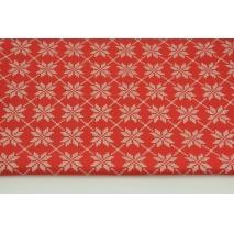 Bawełna 100% srebrno-złote śnieżynki na czerwonym tle