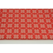 Cotton 100% silver-gold snowflakes on a red background