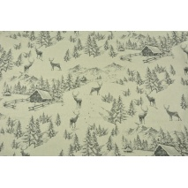 Decorative fabric, winter story on a linen background 200 g/m2