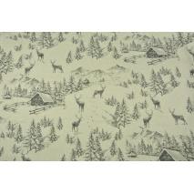Tkanina dekoracyjna, zimowa opowieść na lnianym tle 200g/m2