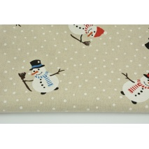 Decorative fabric, snowmen on a linen background 200 g/m2