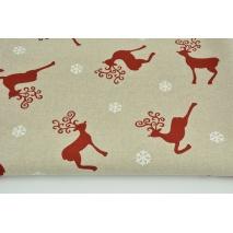 Tkanina dekoracyjna, czerwone renifery, białe śnieżynki na lnianym tle 200g/m2