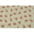 Decorative fabric, red reindeer, white snowflakes on a linen background 200 g/m2