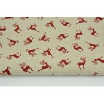 Tkanina dekoracyjna, małe czerwone renifery na lnianym tle 200g/m2