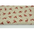 Decorative fabric, small red reindeer on a linen background 200 g/m2