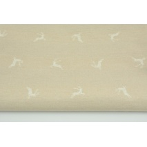 Decorative fabric, white reindeer on a linen background 200 g/m2
