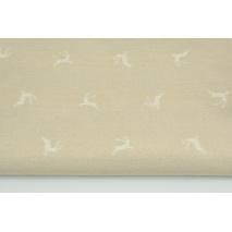 Tkanina dekoracyjna, białe renifery na lnianym tle 200g/m2