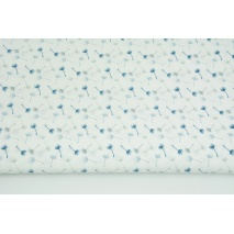 Cotton 100% small gray-blue dandelions on a white background II quality