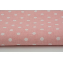 Cotton 100% white polka dots 7mm on a coral background